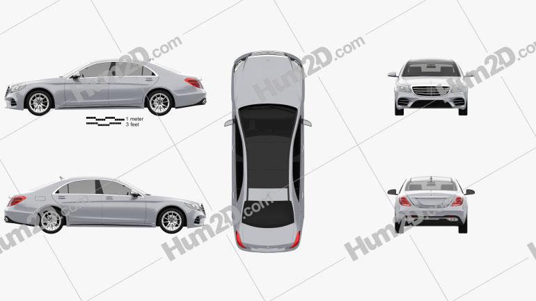 Mercedes-Benz S-class (V222) LWB AMG Line 2017 car clipart