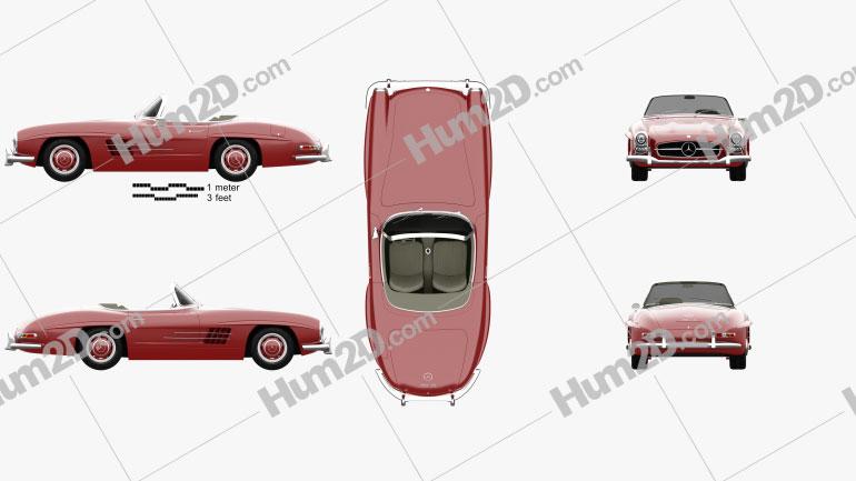 Mercedes-Benz 300 SL 1957 car clipart