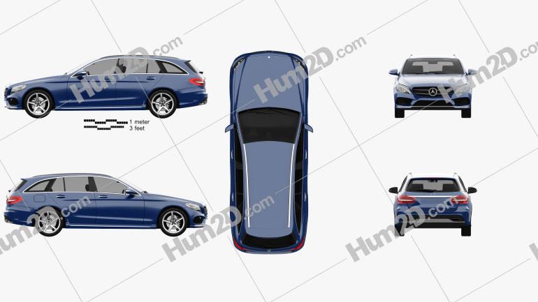 Mercedes-Benz C-Class (S205) estate AMG line 2014 Clipart Image