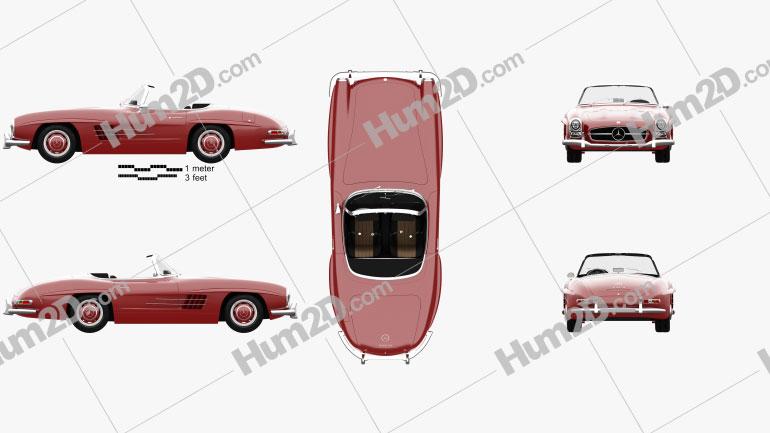 Mercedes-Benz 300 SL with HQ interior 1957 car clipart