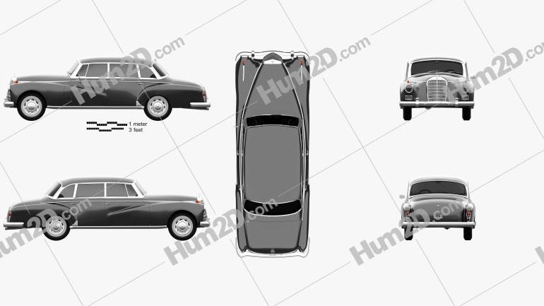 Mercedes-Benz 300d (W189) 1957 car clipart