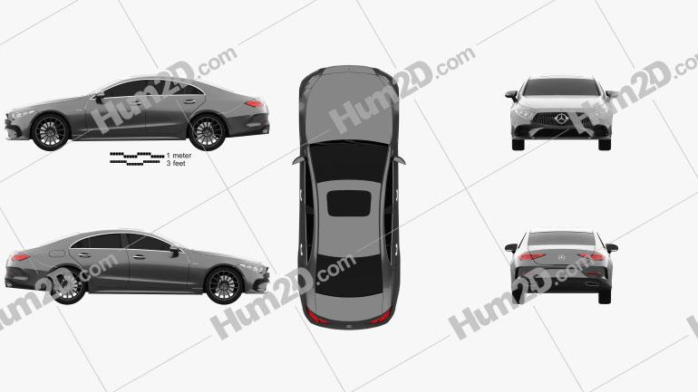 Mercedes-Benz CLS-class (C257) AMG Line 2018 Clipart Image