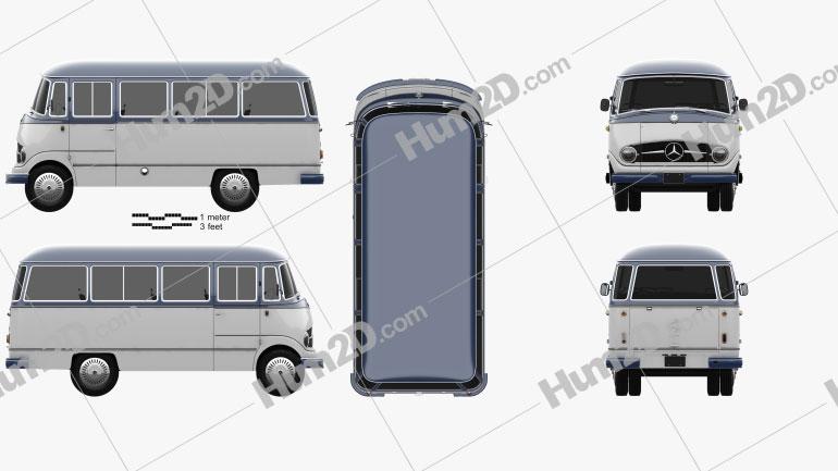 Mercedes-Benz O-319 Minibus 1955 clipart
