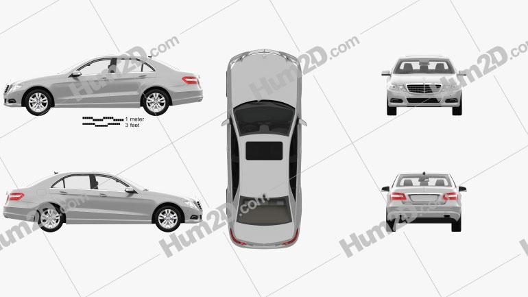 Mercedes-Benz Classe E sedan com interior HQ 2010 car clipart