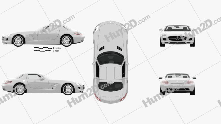 Mercedes-Benz SLS-class with HQ interior 2011 car clipart