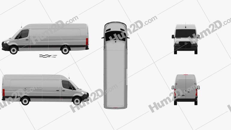 Mercedes-Benz Sprinter Panel Van L4H2 2019 clipart