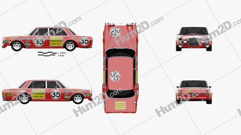 Mercedes-Benz 300 SEL AMG Red Pig 1969 car clipart