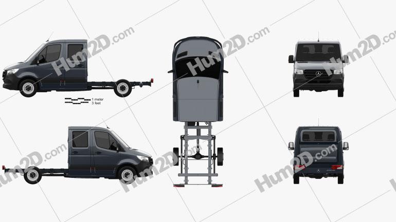 Mercedes-Benz Sprinter (W907) Crew Cab Chassis L2 2019 clipart