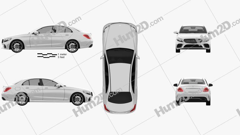Mercedes-Benz C-Class AMG-line sedan 2018 Clipart Image