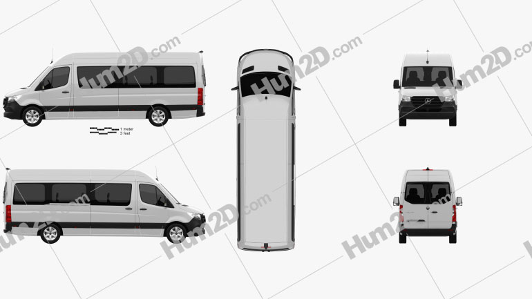 Mercedes-Benz Sprinter Passenger Van L3H2 2019 clipart