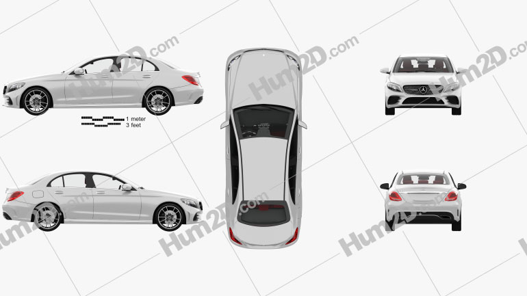 Mercedes-Benz C-class AMG-line sedan with HQ interior 2018 car clipart