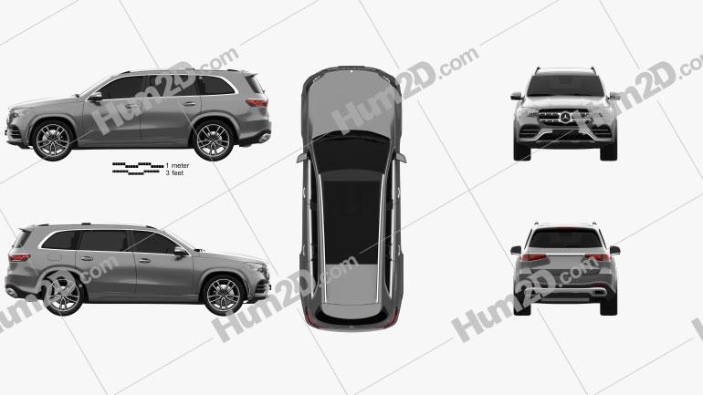 Mercedes-Benz GLS-class AMG-Line 2019 car clipart