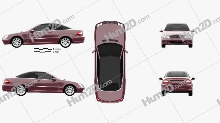 Mercedes-Benz CLK-class (A209) convertible 2005 car clipart