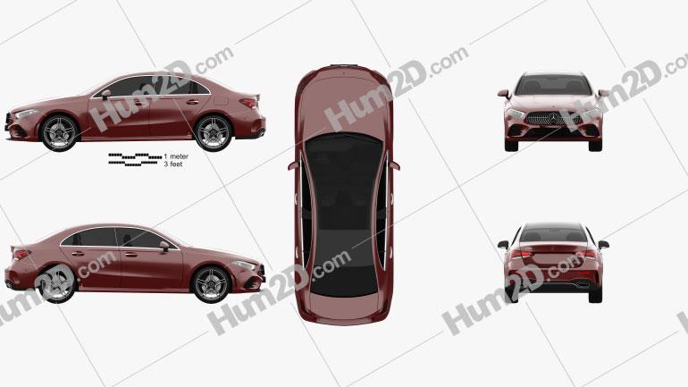 Mercedes-Benz A-class L Sport CN-spec sedan 2018 Clipart Image