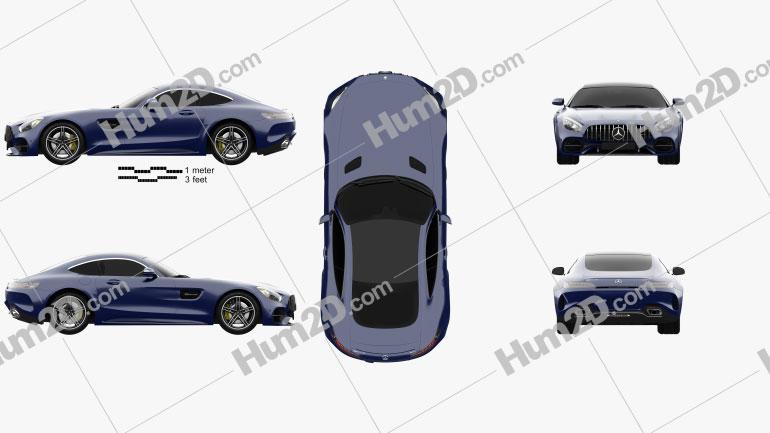 Mercedes-Benz AMG GT C coupe 2016 car clipart
