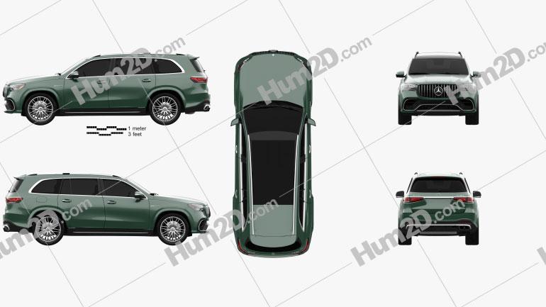 Mercedes-Benz GLS-class AMG US-spec 2021 car clipart
