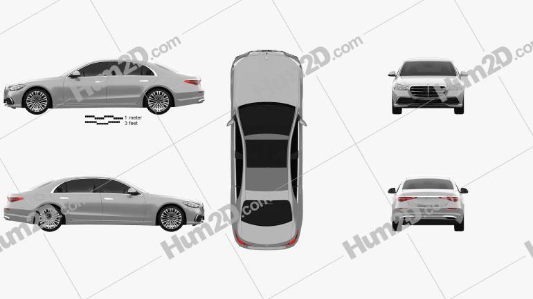 Mercedes-Benz S-Class (V222) LWB  2021 car clipart