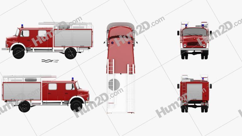 Mercedes-Benz LAF 1113 B Fire Truck 1980 Clipart Image