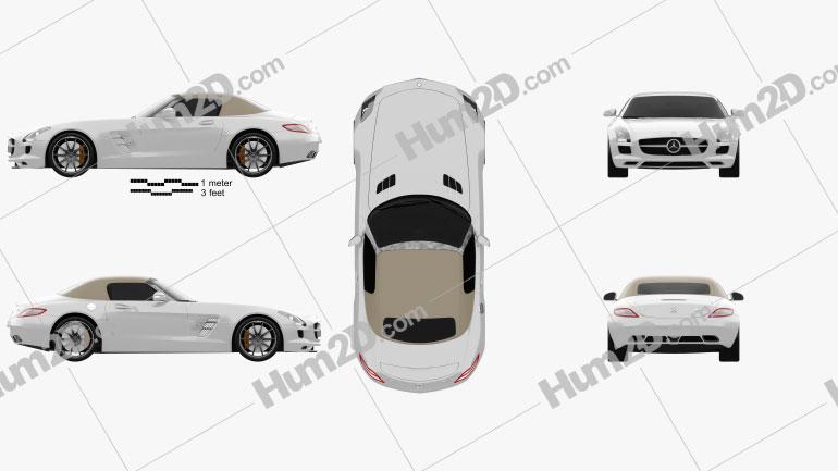 Mercedes-Benz SLS-class roadster 2011 car clipart