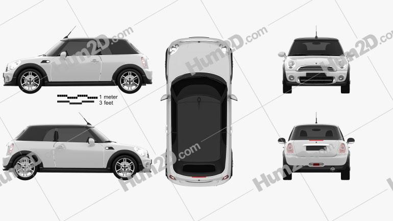 Mini Cooper convertible 2011 Clipart Image