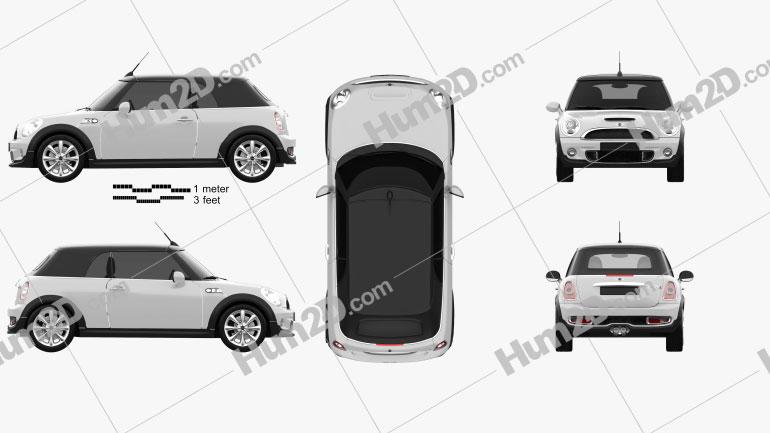Mini Cooper S Convertible 2011 Clipart Image