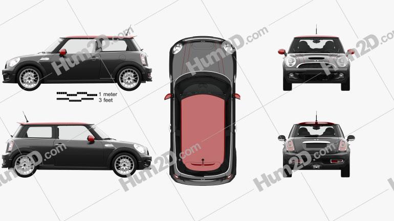 Mini John Cooper Works Hardtop with HQ Interior 2011 car clipart