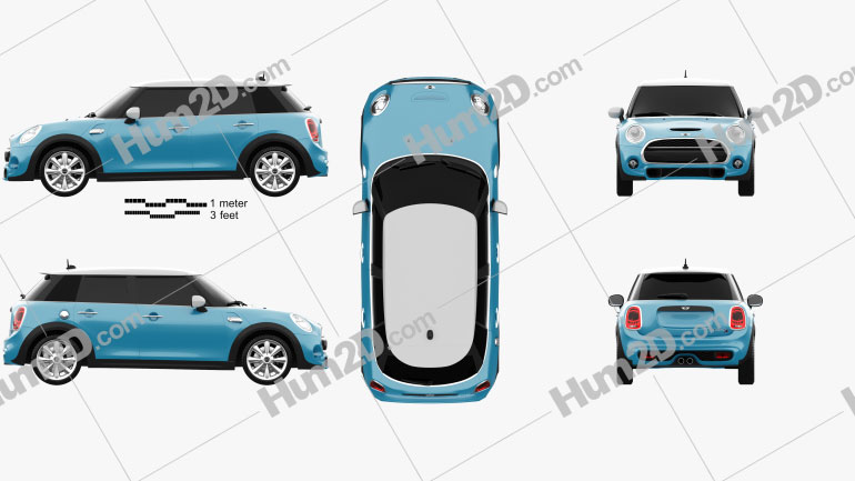 Mini Cooper S 5-door 2014 car clipart