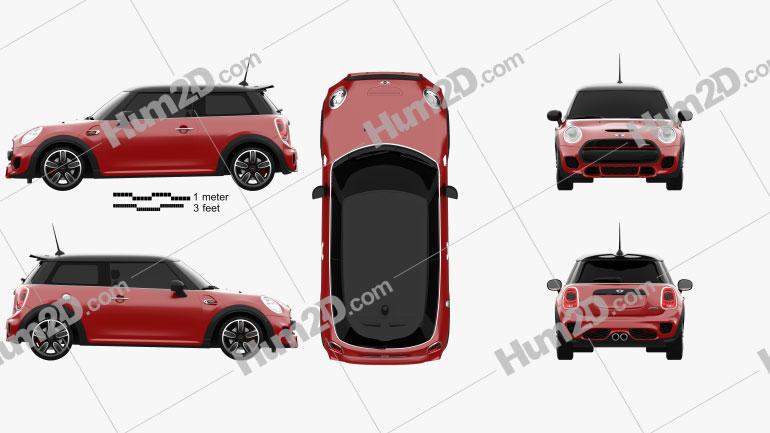 Mini Cooper JCW hardtop 2015 car clipart