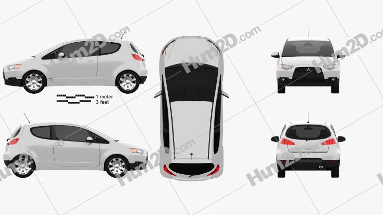 Mitsubishi Colt 3-door 2008 car clipart