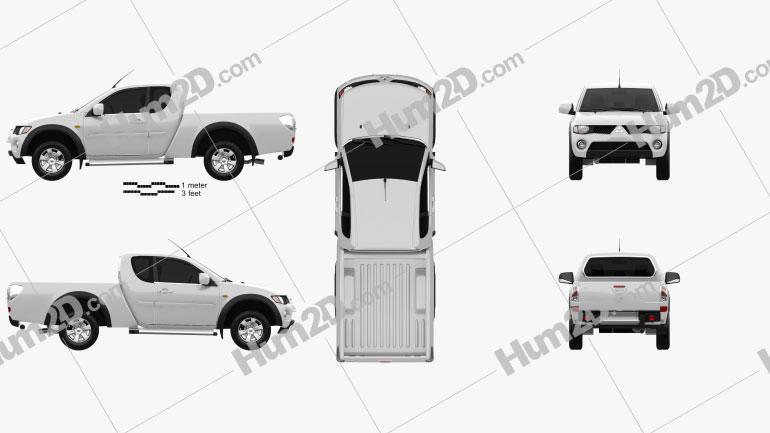 Mitsubishi L200 Triton Club Cab 2011 Clipart Image