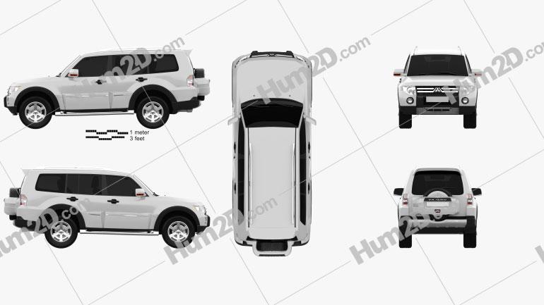 Mitsubishi Pajero Wagon 5-door 2009 Clipart Image
