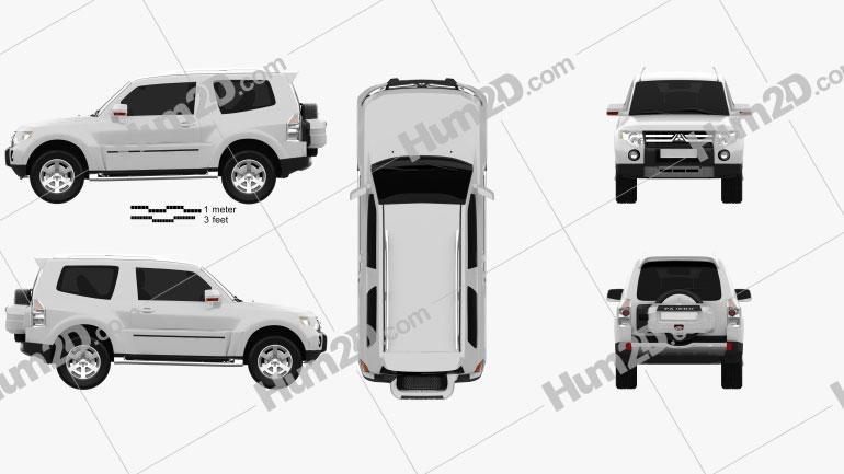Mitsubishi Pajero 3-door 2009 car clipart