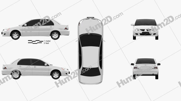 Mitsubishi Lancer Ralliart sedan 2004 car clipart