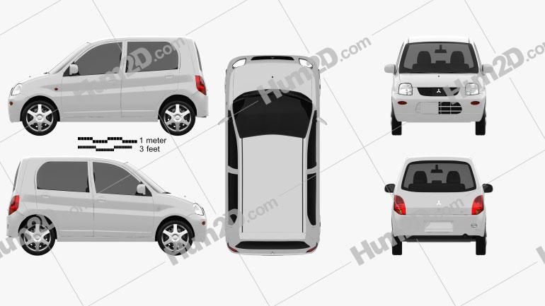 Mitsubishi Minica 5-door 2011 Clipart Image