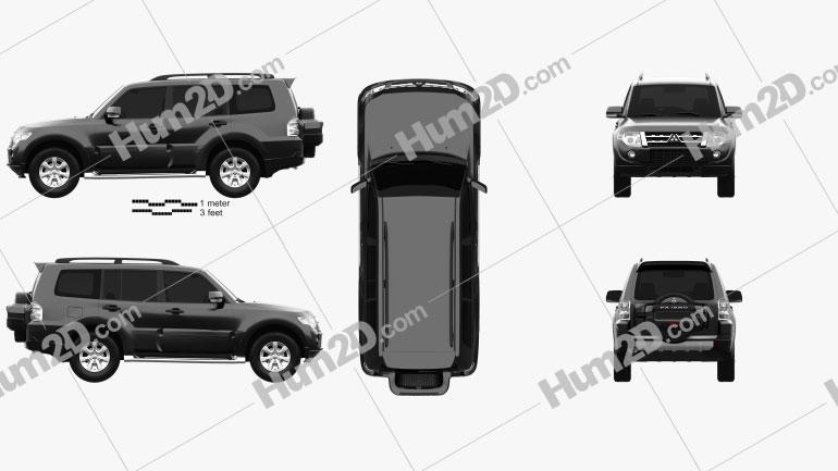 Mitsubishi Pajero (Montero) Wagon 2011 Clipart Bild