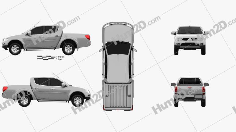 Mitsubishi L200 Triton Doppelkabine HPE 2012 Clipart Bild