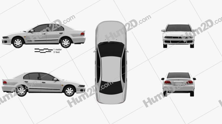 Mitsubishi Galant sedan 1996 car clipart