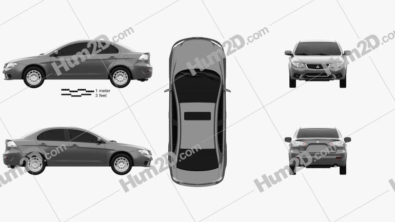 Mitsubishi Lancer Fortis 2013 car clipart
