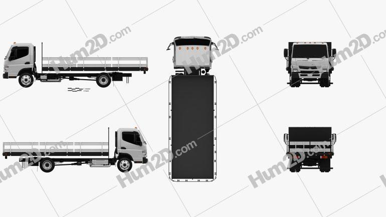 Mitsubishi Fuso Flatbed Truck 2013 Clipart Image