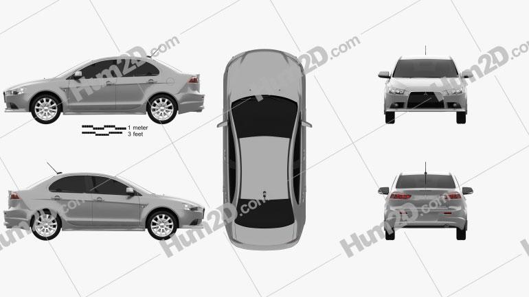 Mitsubishi Lancer sedan 2012 car clipart