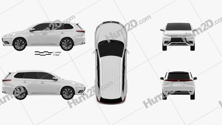 Mitsubishi Outlander PHEV S 2014 car clipart