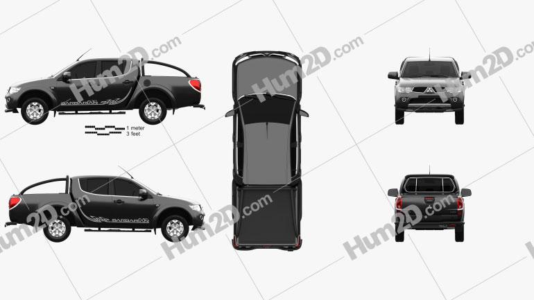 Mitsubishi L200 Triton Barbarian Black 2012 car clipart