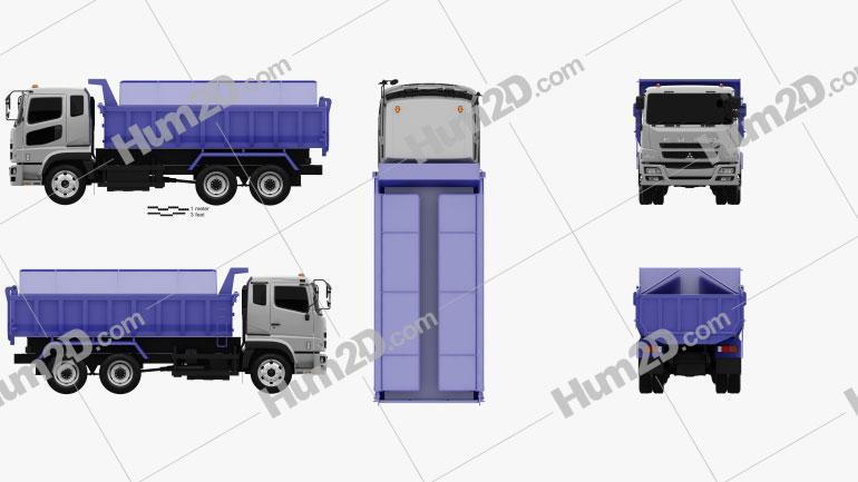 Mitsubishi Fuso Super Great Dump Truck 3-axle 2007 Clipart Image