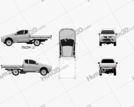 Mitsubishi Triton Club Cab Alloy Tray 2015 car clipart