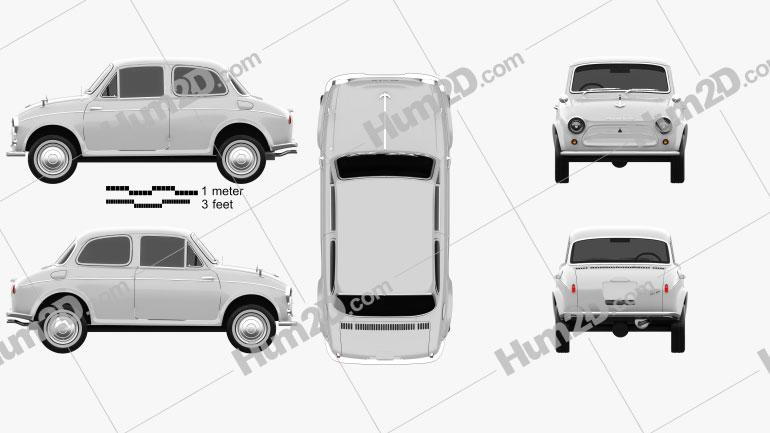 Mitsubishi 500 1960 car clipart