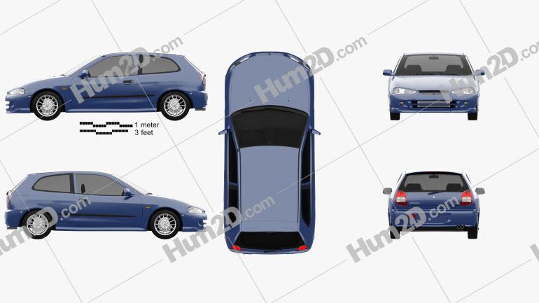 Mitsubishi Colt 3-door hatchback 1998 Clipart Image