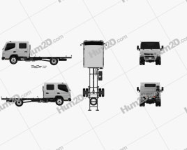 Mitsubishi Fuso Canter 815 Wide Crew Cab Chassis Truck 2016 clipart