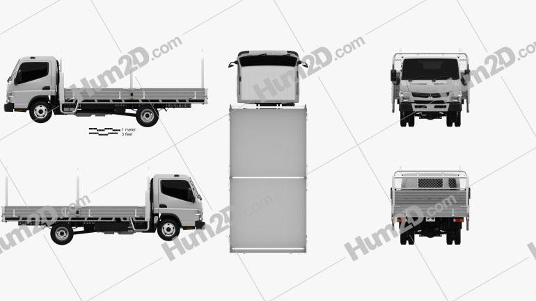 Mitsubishi Fuso Canter 515 Wide Single Cab Alloy Tray Truck 2016 clipart
