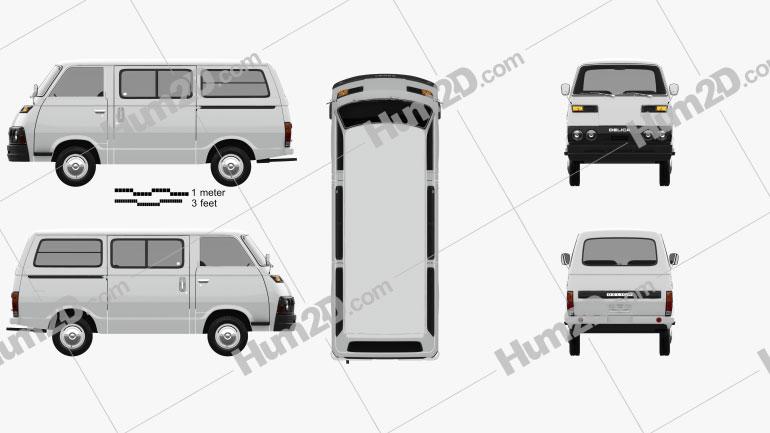 Mitsubishi Delica Coach 1974 clipart