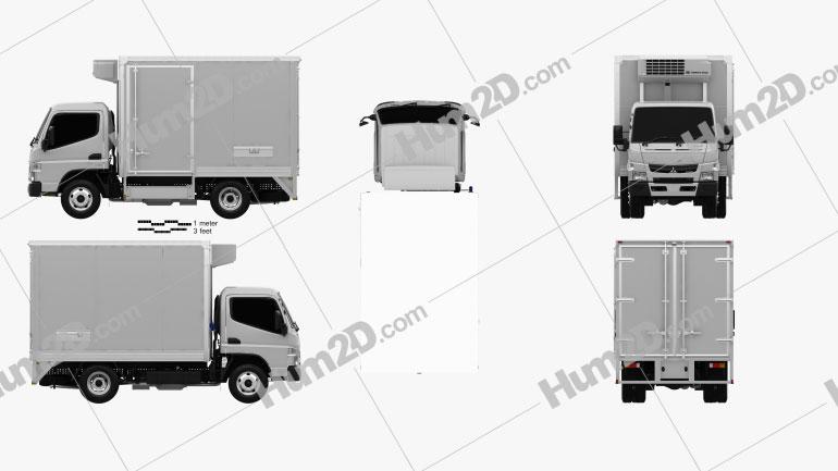 Mitsubishi Fuso Canter City Cab Refrigerator Truck 2016 clipart
